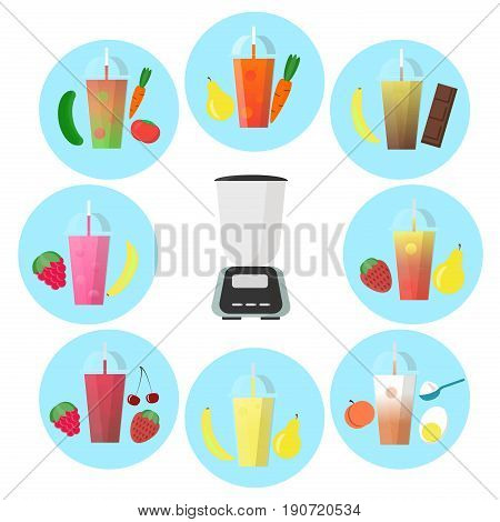 Smoothie to go with different fruits and shaker. Organic fruit coctails vector illustration