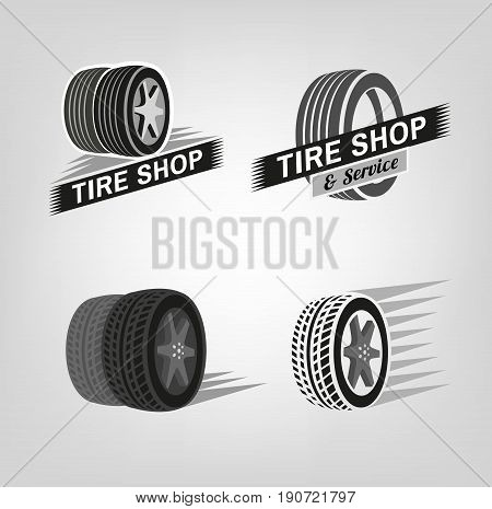 Car tire icons set in grey colours useful for icon and logotype design. Beautiful vector illustration in realistic graphic style. Transportation automotive concept. Digital pictogram collection.