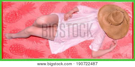 photography with scene tanning girl on beach small rug in straw hat