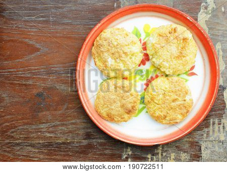 Khao Jee is Sticky rice with egg for Thai e-saan local foods backgrounds above