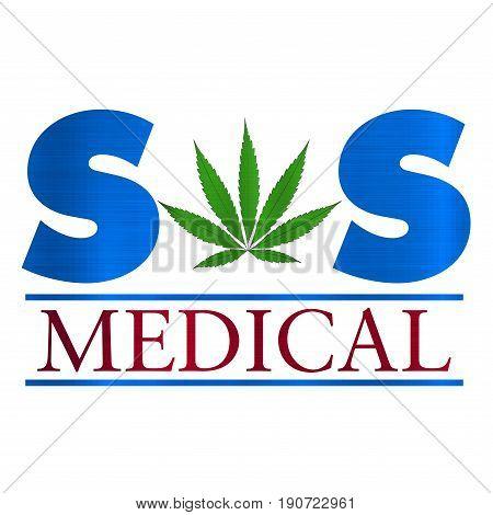 sos medical cannabis health herb weed  illustration