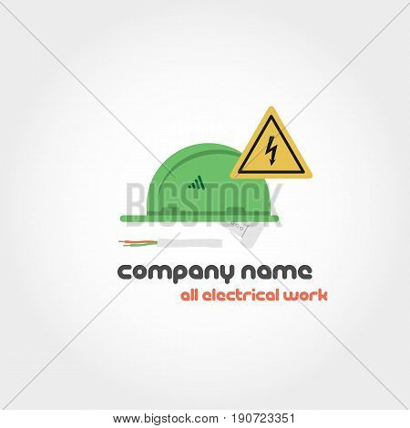 Vector isolated illustration of electrician helmet, a piece of wire and a yellow warning sign of attention with text for company name and slogan. Can be used for logo