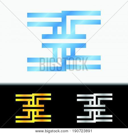 Initial letter EE premium blue metallic rotated lowercase logo template in white background, and custom preview in gold and silver color