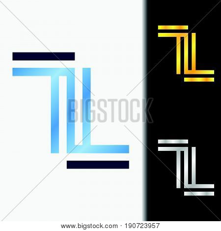 Initial letter LL premium blue metallic rotated lowercase logo template in white background, and custom preview in gold and silver color