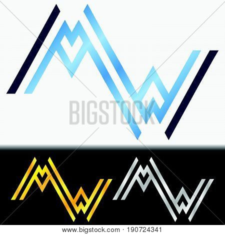 Initial letter WW premium blue metallic rotated lowercase logo template in white background, and custom preview in gold and silver color