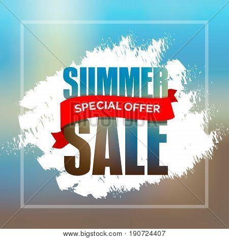 Summer Sale Badge, Label, Promo Banner Template Vector Illustration