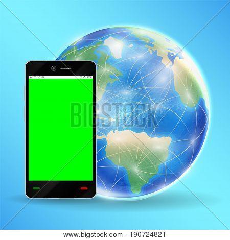 a smartphone green screen with  earth globe