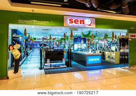 Kota Kinabalu,Sabah-May 27,2017:The SenQ Digital Station outlet at IMAGO shopping complex in Kota Kinabalu,Sabah,Malaysia.Its a store,allows shoppers to touch,feel & test a wide range of the latest high-tech products in spacious,comfortable environment.