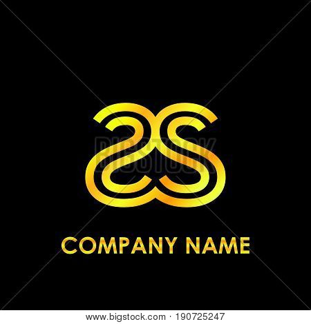 Initial letter SS elegant gold reflected lowercase logo template in black background