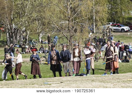 UMEA, SWEDEN ON JUNE 02. Unidentified participants in the Brannboll Cup Championship on June 02, 2017 in Umea, Sweden. Imaginative costumes among the player in different situations. Editorial use.