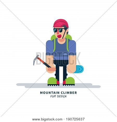 Young climber with ice ax and rope. Vector illustration on isolated background. Extreme sports.
