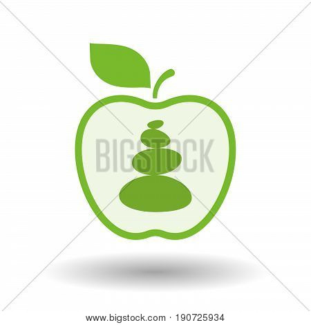 Isolated Apple With  A Stacked Zen Stones