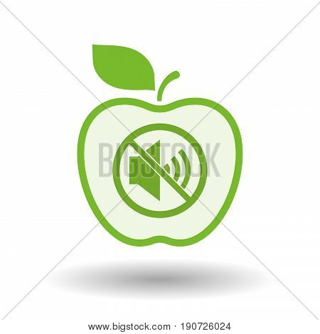 Isolated Apple With  A Speaker  In A Not Allowed Signal