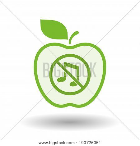 Isolated Apple With  A Musical Note  In A Not Allowed Signal