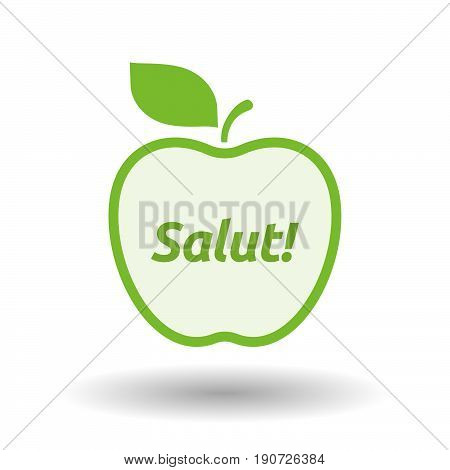 Isolated Apple With  The Text Hello! In The French Language
