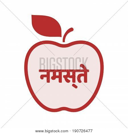 Isolated Apple With  The Text Hello In The Hindi Language