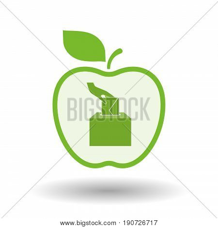 Isolated Apple With  A Hand Inserting An Envelope In A Ballot Box