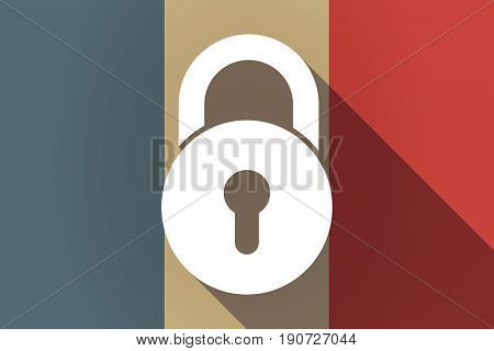 Long Shadow France Flag With  A Closed Lock Pad