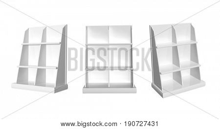 Collection of showcases. View from different angles. Objects isolated on white background. 3d render