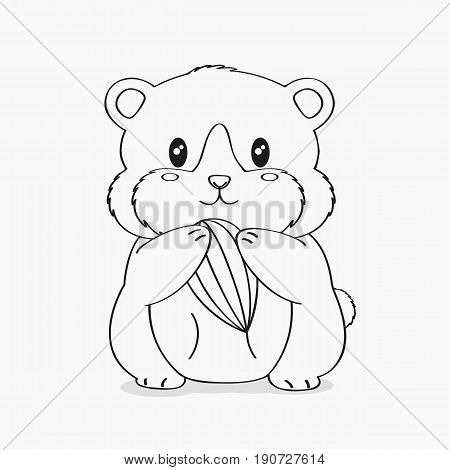 cute brown hamster holding a sunflower seed, line art vector.