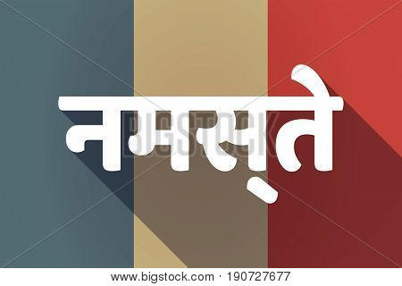Long Shadow France Flag With  The Text Hello In The Hindi Language