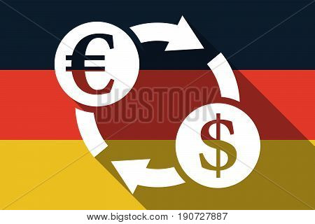 Long Shadow Germany Flag With  An Euro Dollar Exchange Sign