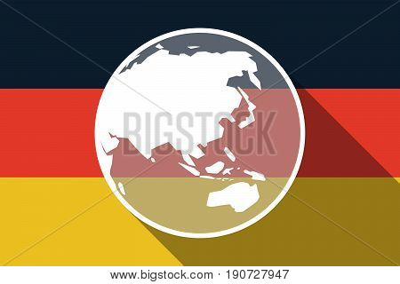 Long Shadow Germany Flag With  An Asia Pacific World Globe Map