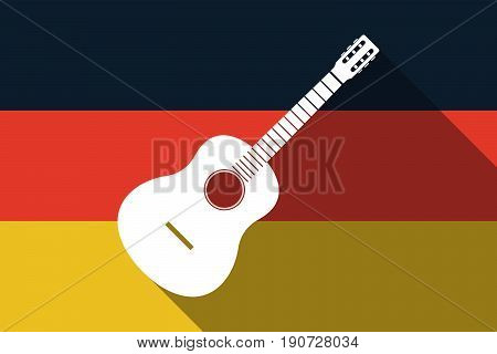 Long Shadow Germany Flag With  A Six String Acoustic Guitar