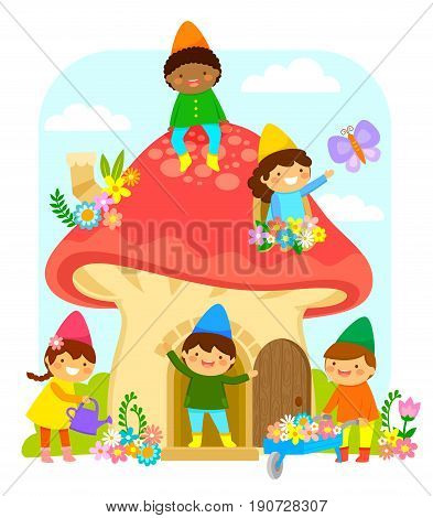 Little dwarfs playing and working in a mushroom house