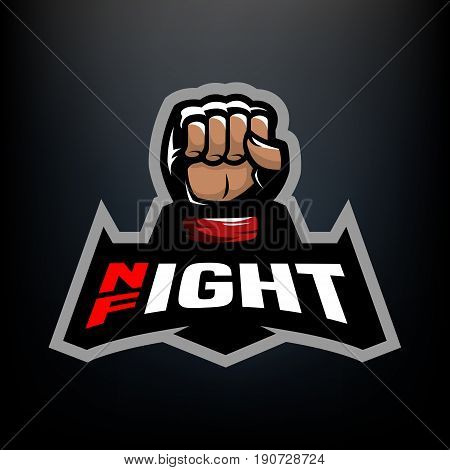 Night fight. Fighting logo design, on a dark background.
