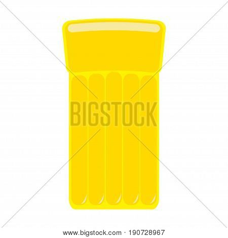 Yellow air pool floating water mattress. White background. Isolated. Flat design. Vector illustration
