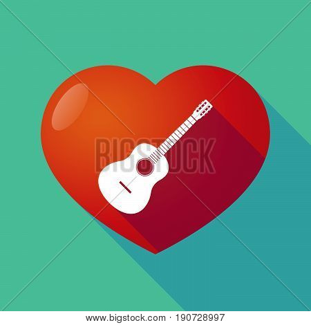 Long Shadow Heart With  A Six String Acoustic Guitar