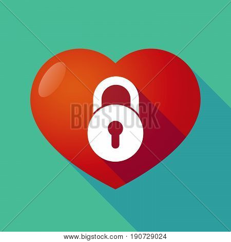 Long Shadow Heart With  A Closed Lock Pad