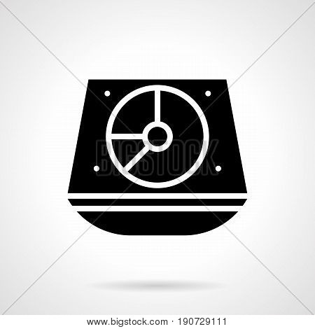 Abstract monochrome symbol of midi turntable mixer. Audio music controller for party, concerts, show or performance. Symbolic black glyph style vector icon.