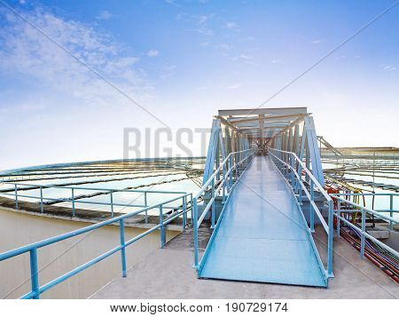 beautiful blue sky of environment waterworks plant in heavy industry estate