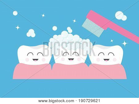 Tooth gum icon. Three cute funny cartoon smiling character set. Toothbrush with toothpaste bubble foam. Oral dental hygiene. Children teeth care. Tooth health. Baby background. Flat design. Vector