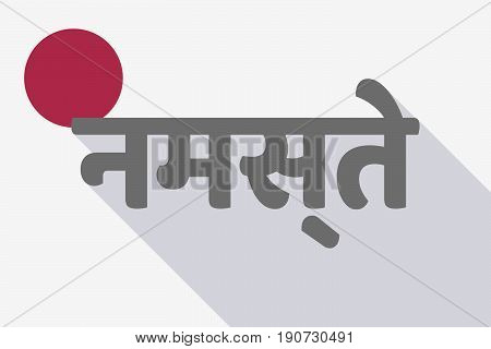 Long Shadow Japan Flag With  The Text Hello In The Hindi Language