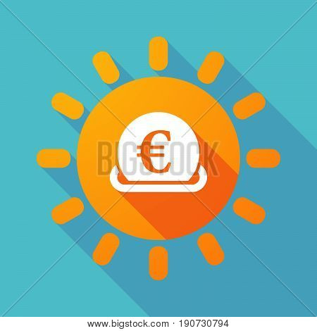 Long Shadow Sun With  An Euro Bank Note