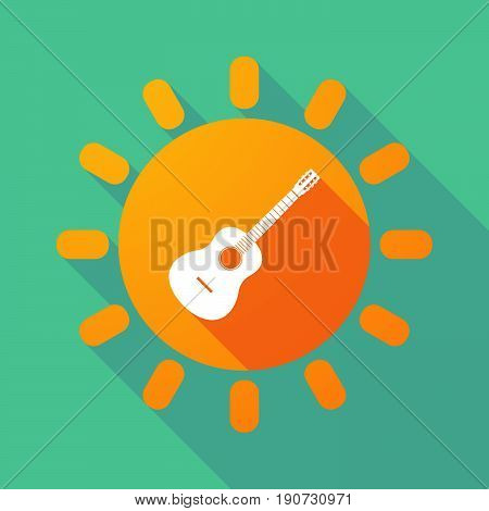Long Shadow Sun With  A Six String Acoustic Guitar