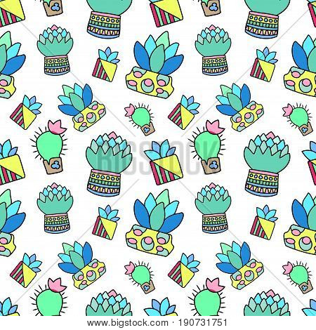 Doodle cactus and succulent raster seamless pattern with white background. Colorful potted plants pattern tile. Cacti flowerpot pattern for textile or wrapping paper. Succulent houseplant texture