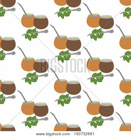 Calabash mate pattern on the white background. Vector illustration