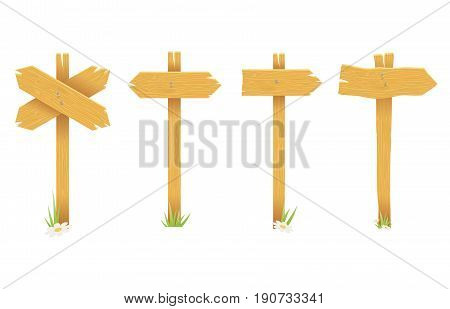 Wooden waymark signboard arrow isolated sign cartoon icons set vector illustration