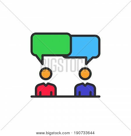 Discussion dispute filled outline icon colorful vector sign Symbol logo illustration