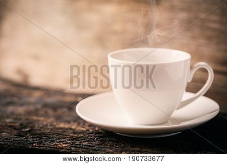 Hot Coffee, Espresso Coffee Cup. White Coffee Cup On Wood Table.