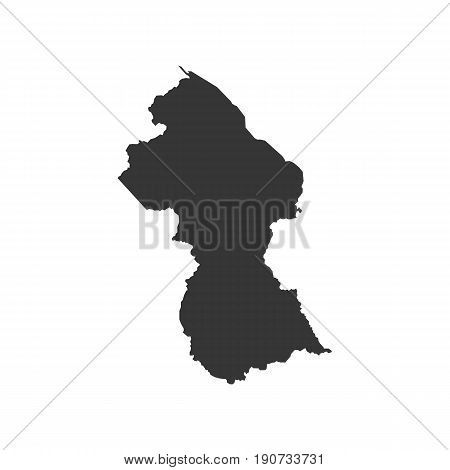 Guyana map silhouette illustration on the white background. Vector illustration