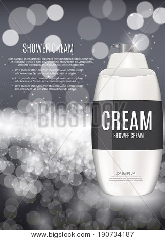 Design Cosmetics Product  Template for Ads or Magazine Background. Shower Cream. 3D Realistic Vector Iillustration. EPS10