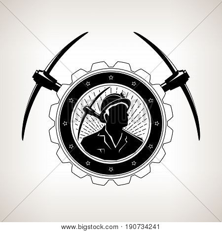 Vintage Emblem of the Mining Industry, Miner Holding a Pickax in a Gear with Two Crossed Pickaxes , Label and Badge Mine Shaft on a Light Background, Vector Illustration