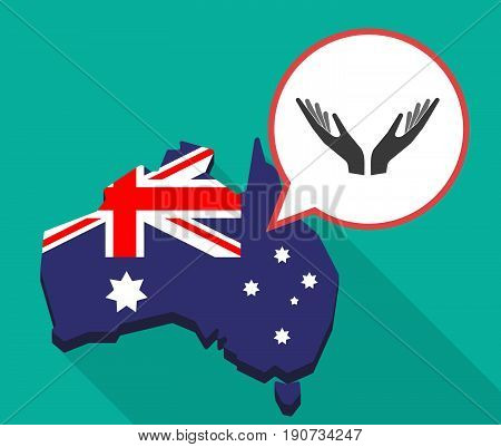 Long Shadow Australia Map With  Two Hands Offering