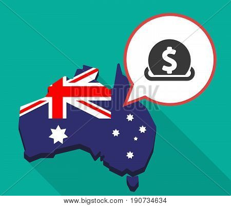 Long Shadow Australia Map With  A Dollar Coin Entering In A Moneybox
