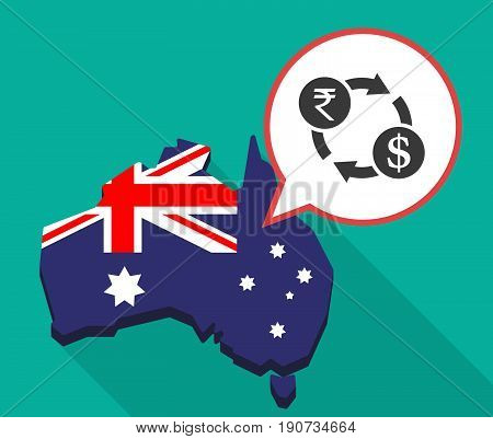 Long Shadow Australia Map With  A Rupee And Dollar Exchange Sign